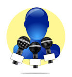 Illustration of blue person with microphones with yellow circle background Royalty Free Stock Image