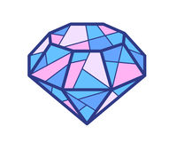 Illustration of blue and pink diamond on white background Royalty Free Stock Photography