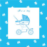 Illustration of blue pram with nipples Stock Images