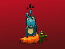 Illustration of blue rabbit on big carrot Stock Images