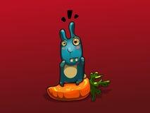 Illustration of blue rabbit on big carrot Stock Images