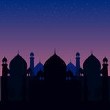 Illustration of a blue religious background with mosque Stock Image