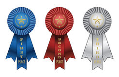 Award Ribbons. Illustration of a Blue ribbon for first place award, Red ribbon for second place award, and white ribbon for third place award Royalty Free Stock Image