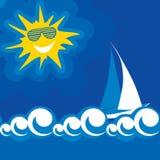 Illustration of blue sea summer sun Stock Photography
