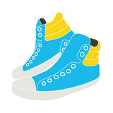 Illustration of blue sneakers on white background. Vector illustration of blue sneakers  on white background Royalty Free Stock Photos