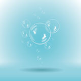 Blue soap bubbles on white background. Illustration of blue soap bubbles on white background. Vector with transparency Royalty Free Stock Photography