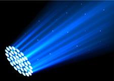 Blue spotlights on dark background. Illustration of Blue spotlights on dark background Stock Photos