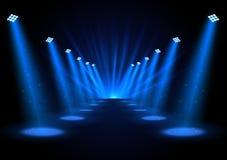 Blue spotlights on dark background. Illustration of Blue spotlights on dark background Royalty Free Stock Image