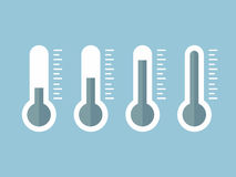 Illustration of blue thermometers with different levels, flat style, EPS10. Royalty Free Stock Photo