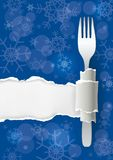 Menu Christmas blue ripped paper background. stock illustration