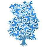 Illustration of blue tree from butterflies. On white background Royalty Free Stock Images