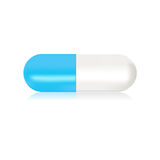 Illustration of blue and white capsule pill  Royalty Free Stock Image