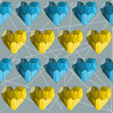 Illustration with blue and yellow geometric abstract polygonal hearts for use in design for valentines day or wedding. Seamless. Illustration with blue and stock illustration