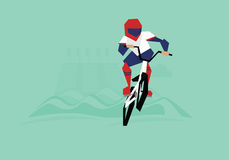 Illustration Of BMX Cyclist Competing In Event stock illustration