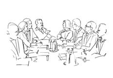 Illustration of board meeting. Illustration with people at the board meeting stock illustration