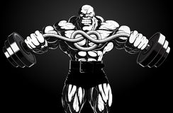 Illustration : bodybuilder avec un barbell Image libre de droits