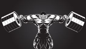 Illustration : bodybuilder avec un barbell Photos libres de droits