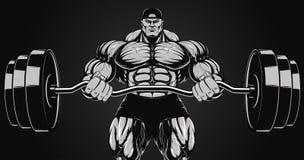 Illustration, bodybuilder avec un barbell illustration de vecteur