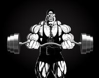 Illustration: bodybuilder with a barbell. Illustration: a ferocious bodybuilder with a barbell Royalty Free Stock Image