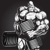 Illustration: bodybuilder with dumbbell Stock Photos