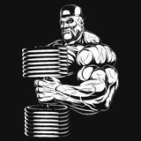 Illustration: bodybuilder with dumbbell Royalty Free Stock Photos