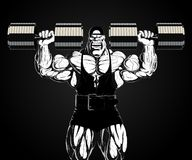 Illustration: Bodybuilder mit Dummkopf Stockfotos