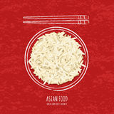 Illustration of boiled white rice in watercolor sketchy dish and chopsticks on grunge red background. Top view. Stock Photo