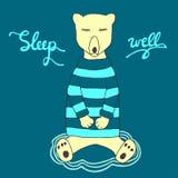 Illustration bonne de sommeil Ours mignon de sommeil dans vêtements chauds Photos libres de droits
