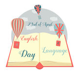 Illustration of the book and balloons for the English Language Day Stock Photography