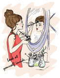 Illustration for the book. Look at yourself inside. The girl does makeup. Displays in the mirror. Mystery around us. Third Eye. Stock Photo