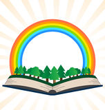 Illustration of a book with a rainbow at the forest Stock Photos
