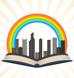 Illustration of a book with a rainbow over city Royalty Free Stock Image