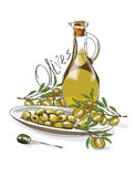 Illustration for the book. Seamless pattern. A jar with olive oil. The branches of the olive. Postcard with food. Gastro. Postcard vector illustration
