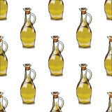 Illustration for the book. Seamless pattern. Jars with olive oil. Postcard with food. Gastro postcard. Illustration for the book. Seamless pattern. Jars with stock illustration