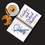 Illustration of booklet, mug of cappuccino and croissant Royalty Free Stock Images