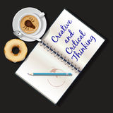 Illustration of booklet, mug of cappuccino and doughnut Royalty Free Stock Photos