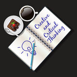 Illustration of booklet, mug of coffee and brownie Stock Photography