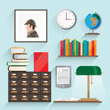 Illustration with books. It consists of a globe portrait of Holmes, a number of books, clocks, shelves, dressers and more. Objects made into flat with shadow Stock Photo