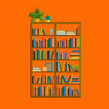Illustration of bookshelf on wall with books in vector, flat style. Stock Photo