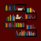 Illustration of bookshelf on wall with books in vector, flat style. Royalty Free Stock Photos