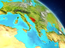 Bosnia and Herzegovina from orbit. Illustration of Bosnia and Herzegovina as seen from Earth's orbit. 3D illustration. Elements of this image furnished by NASA Royalty Free Stock Photo