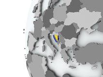 Bosnia on globe with flag Stock Photos