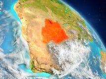 Botswana from orbit. Illustration of Botswana as seen from Earth's orbit. 3D illustration. Elements of this image furnished by NASA Stock Photography