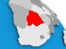Botswana in red on map Royalty Free Stock Photo