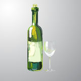 Illustration of bottle and glass of white wine. Hand drawn vector illustration isolated Stock Image