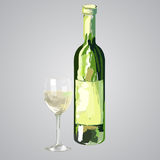 Illustration of bottle and glass of white wine. Hand drawn vector illustration isolated Stock Photo