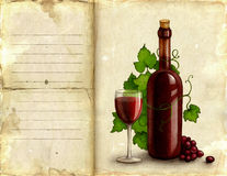 Illustration of bottle and glass of wine Stock Photos