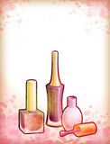 Illustration bottle of nail polish and brush. Watercolor background with illustration bottle of nail polish and brush Stock Photography