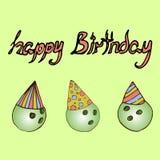 Illustration Boules de bowling Joyeux anniversaire Images stock
