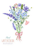 An illustration with a bouquet of the beautiful watercolor blue Myosotis flower, cornflowers and lavender flowers Royalty Free Stock Photography